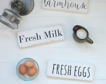 Farmhouse | Fresh Milk | Fresh Eggs| Wood signs | set of 3 | kitchen decor | farm decor