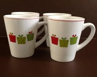 """Mayfair and Jackson """"Presents"""" Holiday Mug set of Four"""