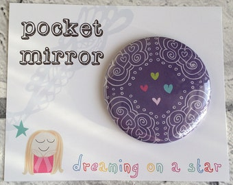 Pocket Mirror, Hand Mirror, Heart Mirror, Hen Party Favors, Makeup Mirror, Purple, Cute Gifts, Party Favors, Pretty Gift, Birthday gift