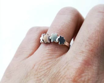 CLEARANCE SALE Simple sterling silver and rose gold flower ring. Minimalist flower silver ring. Scandinavian modern jewelry design.