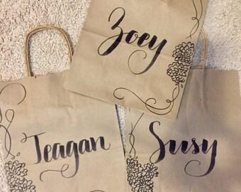 Bridesmaid gift bag - custom kraft bag - bridesmaid gift - flower girl gift bag