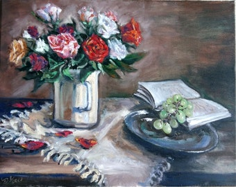 "Original Oil Painting, Still Life-Rose and Grapes, 16""x20"", 1610263"