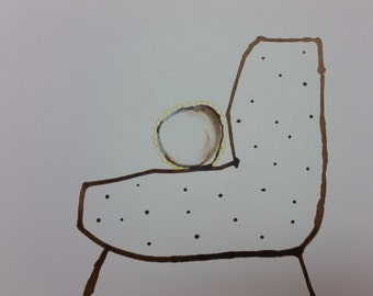 Soft chair with Yellow ruffle pillow. Ink on paper. Original art, minimalist and whimsical