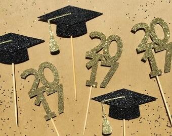 Graduation Cupcake Toppers | Grad Dessert Picks | Congratulations Party Decoration | 2017 Event Decor | Grad Glitter Cake Decorations