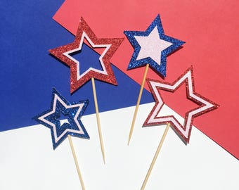 Star Cupcake Toppers | Fourth of July Picks | Memorial Day Party Decoration | Red White Blue American Stars | Labor Day Appetizer Pick Decor
