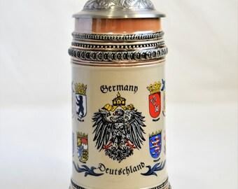 """Vintage German Beer Stein """"Deutchland""""/ Bareware/ DOMEX Beer Stein/"""
