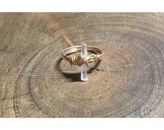 Minimalist Quartz and Phosphorated Bronze Ring | ANY SIZE