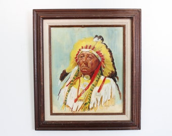 Vintage Tribal Chief Painting // Native American Framed Art // Indian Chief Headdress Portrait