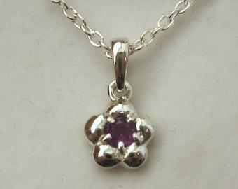 Solid 925 Sterling Silver February Birthstone Daisy Amethyst Pendant