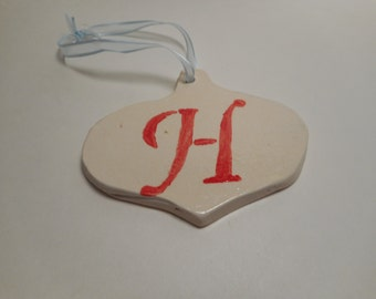 Personalized First Initial Ceramic Ornament H, Handmade Pottery, Hand Painted, Christmas, Holiday Decor