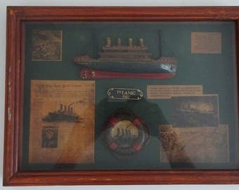 Titanic Replica Glass Encased Wood 3D Shadow Display Box - 32 cm x 23 cm