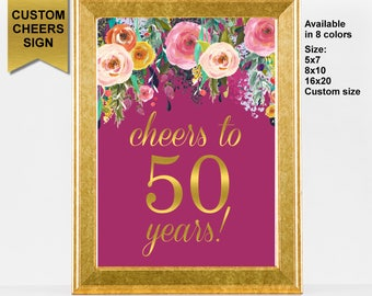 Cheers to 50 Years Sign, 50th Birthday Decoration, Cheers to 50 Years Birthday Sign, 50th Anniversary Sign, Printable Sign, A15