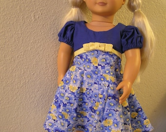 "Blue Party Dress for American Girl or 18"" Doll, Retro Vintage 1950s"