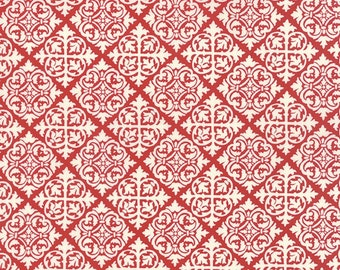 BTHY - El Gallo by Deb Strain for Moda, Pattern #19693-15 Red Tiles, White Diamond Damask Tiles on Red, by the HALF YARD