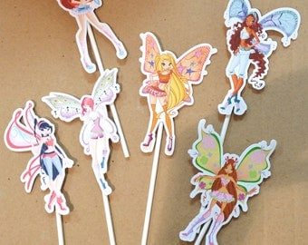 winx cake topper decorations for the cake 6 pieces cardboard double 210 gr