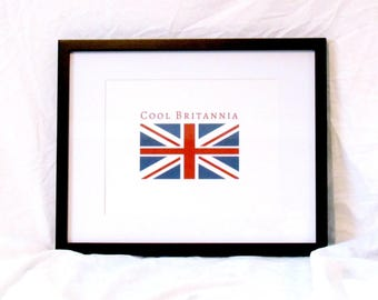 Cool Britannia Printable Art Anglophile Digital Wall Art UK Travel Print Union Jack Printable Going Away Gift Instant Download