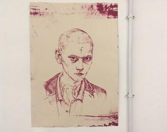 Punk Skinhead Lithography Print - Hot Pink