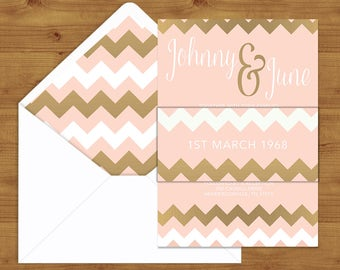 Blush Pink and Rose Gold Belly Bands and Envelope Liners - Blush Pink Wedding - Wedding Invitation Extras - Wedding Stationery