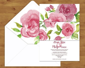 Romantic Pink Rose Belly Bands and Envelope Liners - Pink Wedding - Rose Wedding - Wedding Invitation Extras - Wedding Stationery