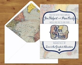 Vintage Travel and Map Belly Bands and Envelope Liners - Destination Wedding - Vintage Map - Wedding Invitation Extras - Wedding Stationer