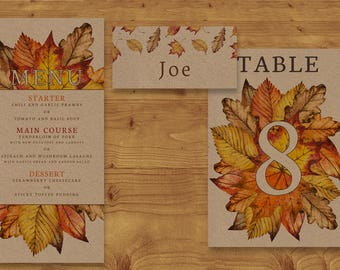 Autumn Leaves Place Cards, Table Numbers, Menu Cards - Fall Wedding - Kraft Card - Table Name - Name Card - Wedding Stationery