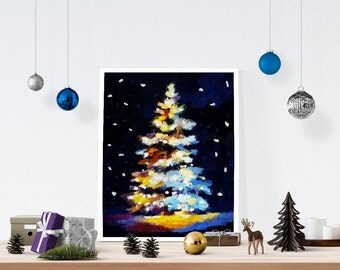 Christmas Tree- Christmas Gifts- Prints for Decor- Holiday Art- Noel- Xmas -Abstract -Boxing Day