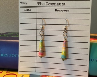 The Octonauts, paper bead jewelry, made with books, recycled books, earrings.