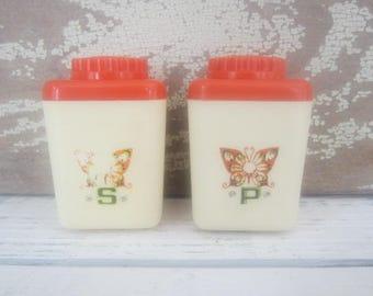 Vintage 70's Salt & Pepper Shakers Vintage 70's Kitchen Orange and Cream
