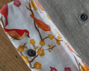 Iridescent and domestic natural flax cotton, reasons birds pouch