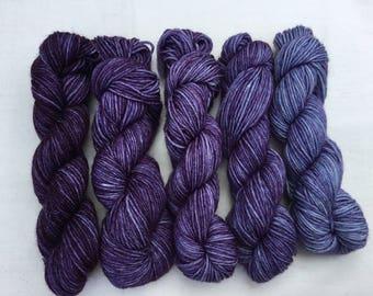 Hand dyed Merino/ Nylon 4ply mini skeins