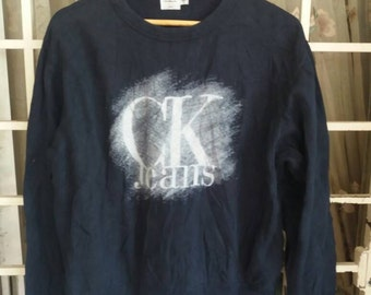 Vintage Calvin klien jeans sweatshirt spellout/blue/large/made in usa/streetwear