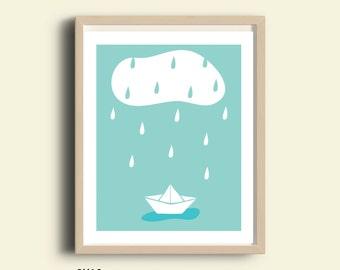 Pastel nursery wall art, printable, sweet cloud baby digital art, pastel nursery decor, baby art, instant download, pastel colors, blue art