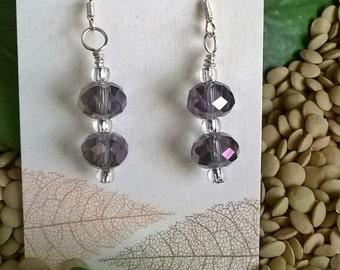 Sale - Double Aurora Borealis Faceted Bead Earrings, Rainbow Crystal, Purple Earrings, Dangle Earrings, Statement Earrings