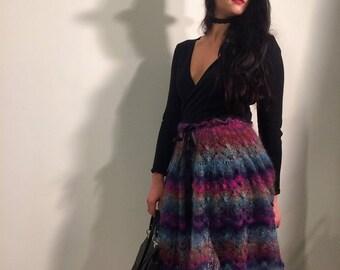 "Mohair skirt and poncho ""Northern lights"""