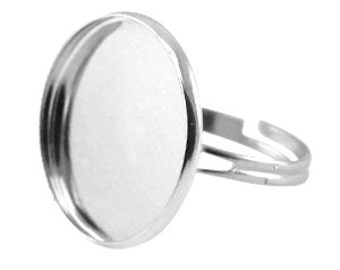 Ring with one socket for a cabochon (20mm)-Silver color-Adjustable