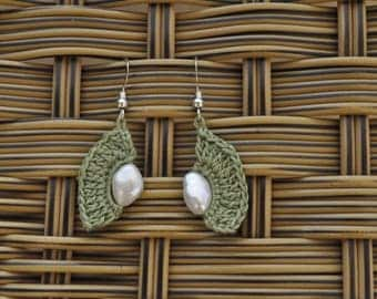 Pearl crochet earings, silver earrings, olive green earrings, dangle silver hook earrings,