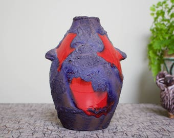 Marei: Vintage Ceramic West German Fat Lava Vase with 'Penguin' Form 4101 in Red and Black 'Lava' Decor.