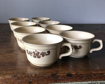 Pfaltzgraff Village Pattern Stoneware - Set of 8 Coffee / Soup Mugs