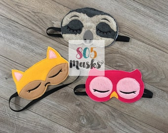 Sloth Sleep Mask, Owl Sleep Mask, Fox Sleep Mask, Sleep mask, Sleeping Mask, Eye Sleep Mask