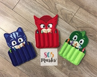 PJ Mask Inspired Crayon Holder, Owlette, Gecko, Catboy, P J Masks toy, PJ Masks Birthday party, Crayon Birthday Favor