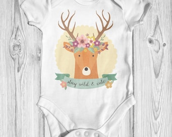 Stay Wild & Cute Baby Bodysuit | Baby Shower Gift | Cute Baby Bodysuit | Boho Baby Clothes | Newborn Baby Clothes | Animal Baby Bodysuit