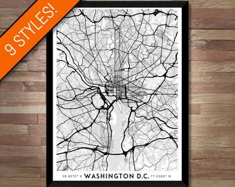 Every Road in Washington DC map art | High-res digital Washington map print, Washington print, Washington poster map, Washington art map