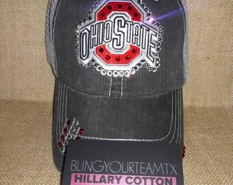 Ohio State Patch with Swarovski Rhinestone Bling Distressed Trucker Hat