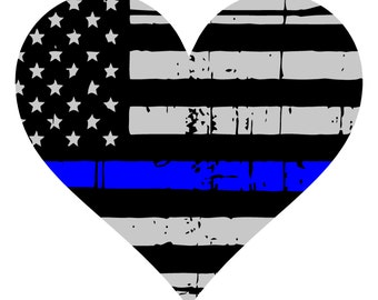 Thin Blue Line Decal- Heart- Yeti Decal- Tumbler Decal