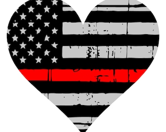 Thin Red Line Decal- Heart- Yeti Decal- Tumbler Decal