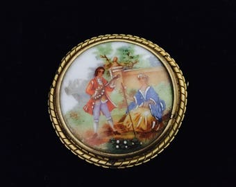 Limoges France Porcelain Courting Couple Pin Brooch