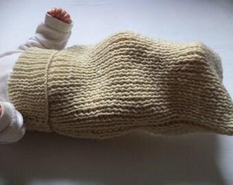 Cocoon puck bag knitted organic organic wool baby sleep sack