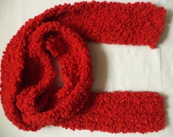 Scarf knitted Merino Wool wool 210 cm wool scarf Red