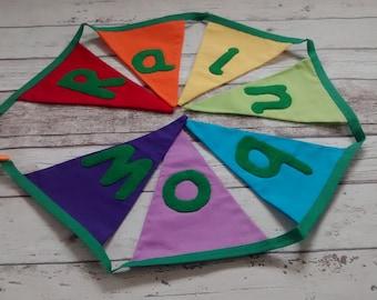 Rainbow bunting, rainbow flags, rainbow garland, wall decor, playroom bunting, classroom bunting, playroom flags, classroom flags, bunting