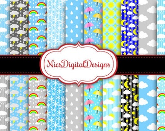Buy 2 Get 1 Free-20 Digital Papers. Different kinds of  Weather (13C no 3) for Personal Use and Small Commercial Use Scrapbooking